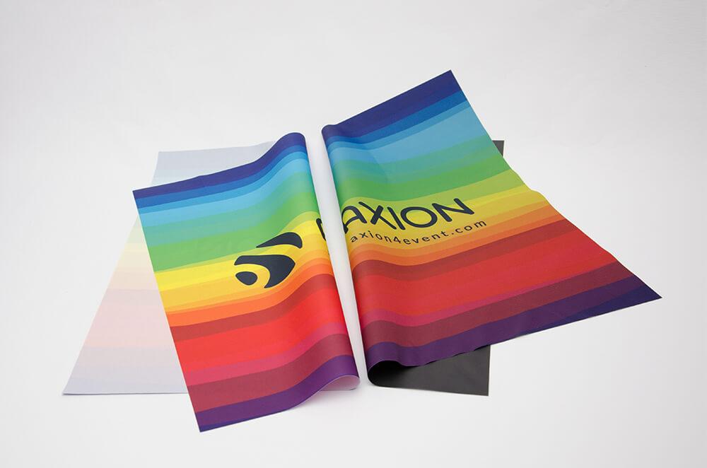 Mostre material personalizat cort gonflabil AXION (stanga cu spate si al doilea cu spate blackout)