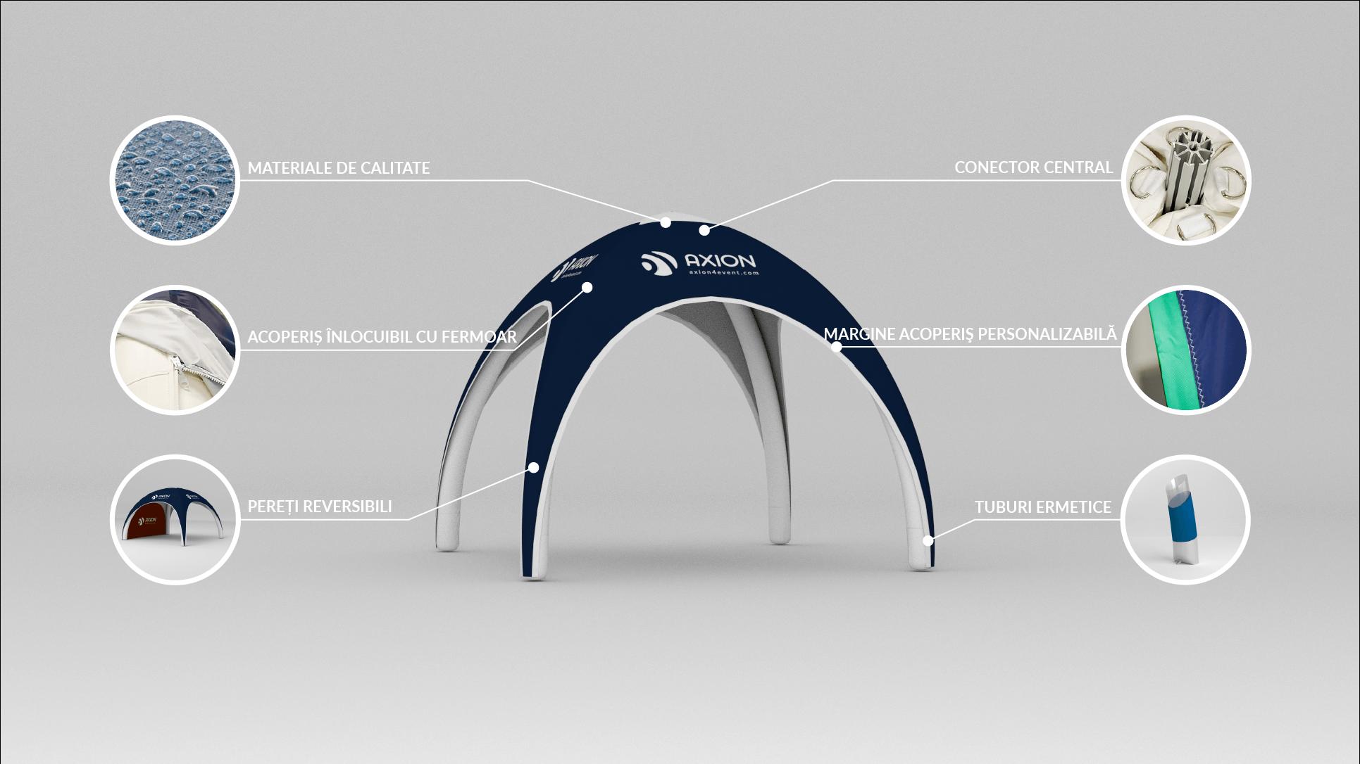 Avantaje cort gonflabil Axion Lite