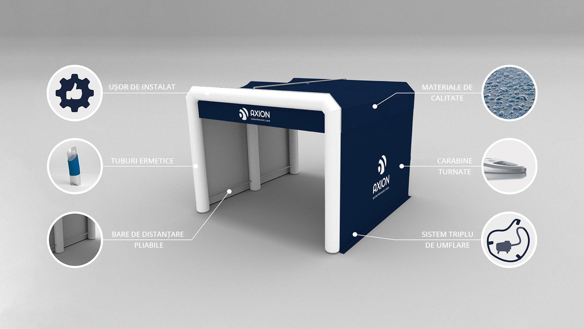 Avantaje cort gonflabil personalizate Axion Cube Lite